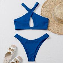 Bikini Badeanzug mit Kreuzgurt, Neckholder und hohem Ausschnitt