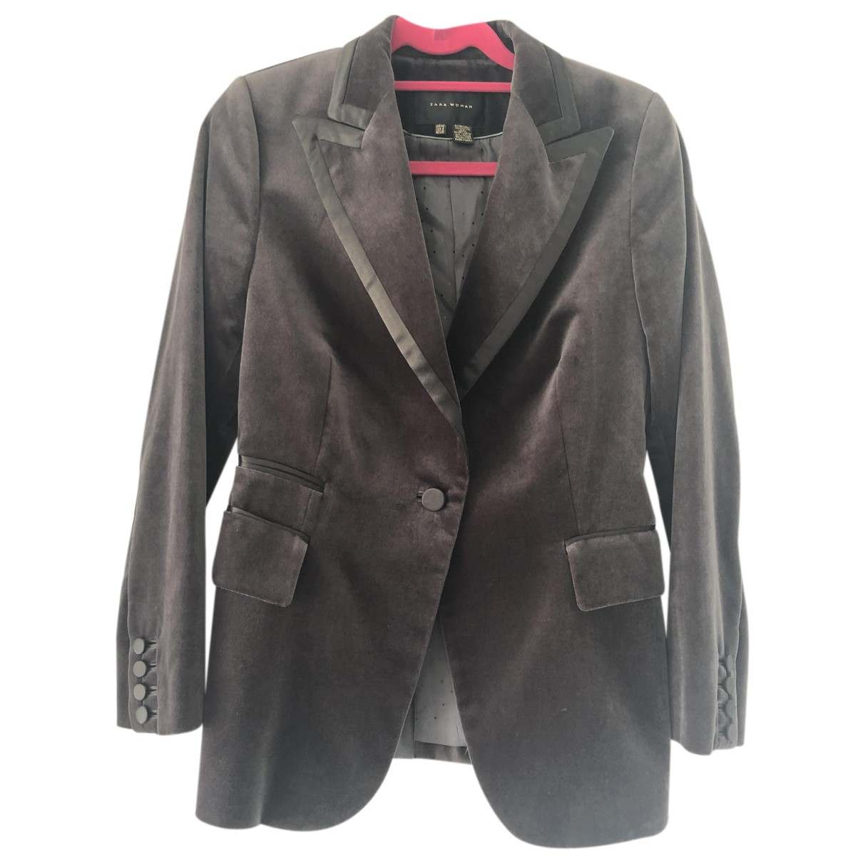 Zara - Veste   pour femme en velours - gris