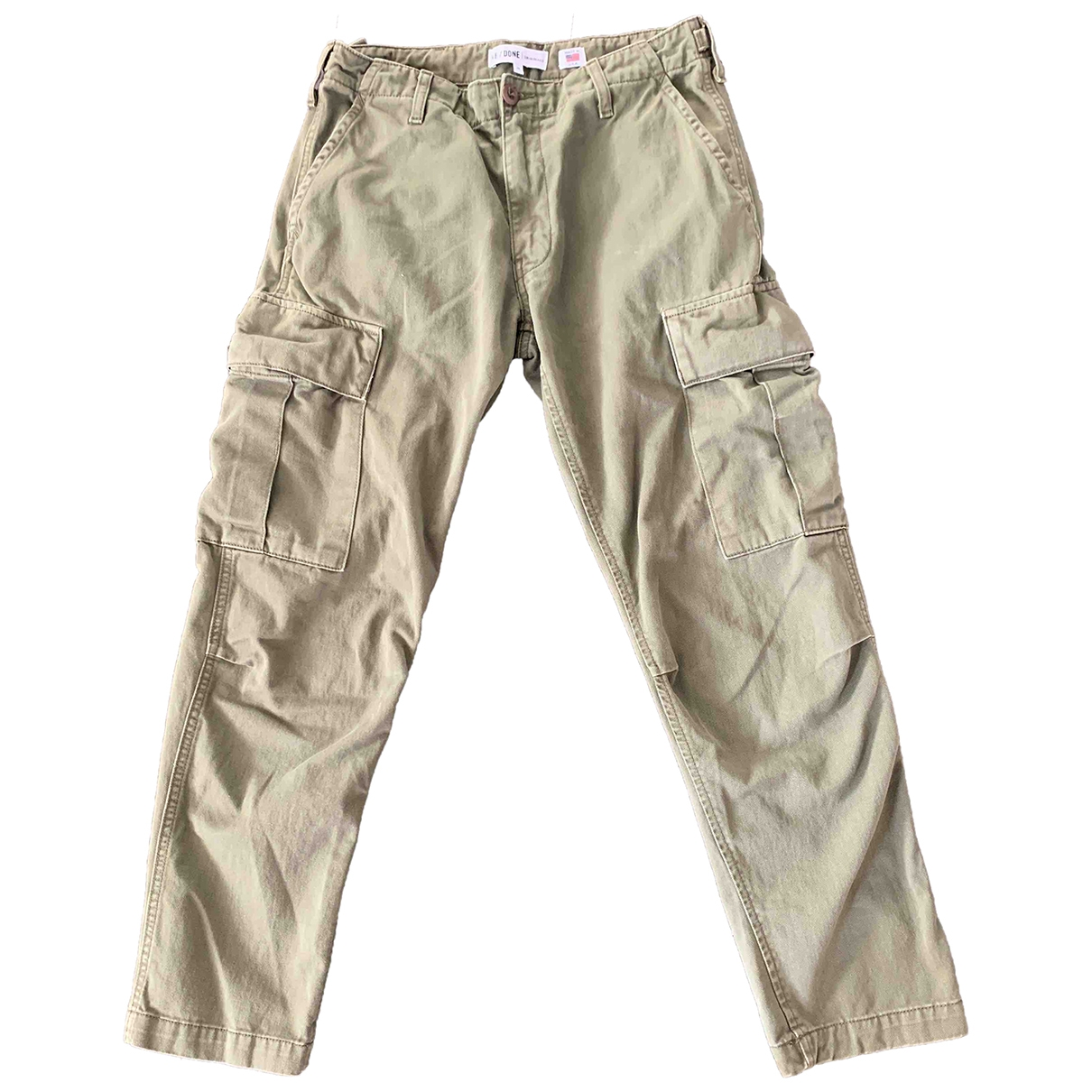 Re/done \N Khaki Cotton Trousers for Women 8 UK