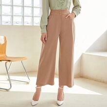 Pantalones de pierna ancha con boton delantero con bolsillo oblicuo