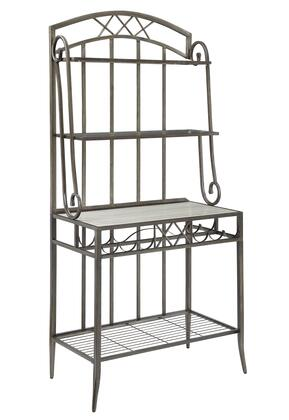 BM202032 Metal Bakers Rack with Four Spacious Shelves and Wine Bottle Holder  Gray and
