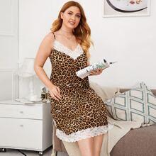 Plus Contrast Lace Detail Leopard Slip Nightdress