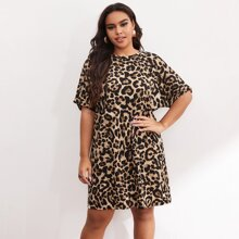 Plus Leopard Print Batwing Sleeve Dress