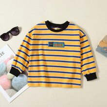 Toddler Boys Letter Patched Striped Sweatshirt