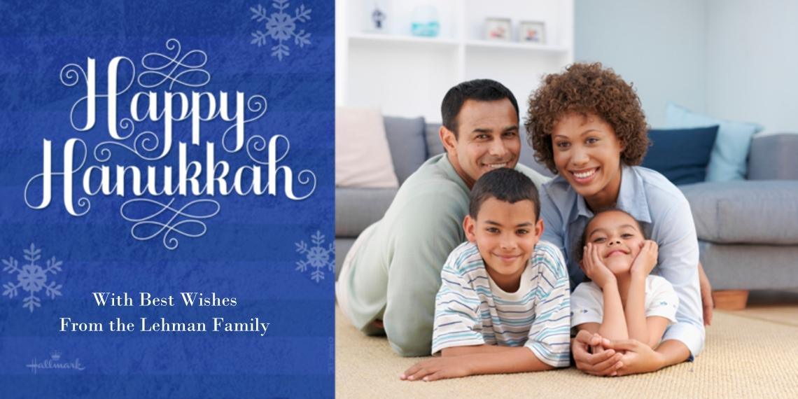 Hanukkah Photo Cards 4x8 Flat Card Set, 85lb, Card & Stationery -Happy Hanukkah Snowflakes