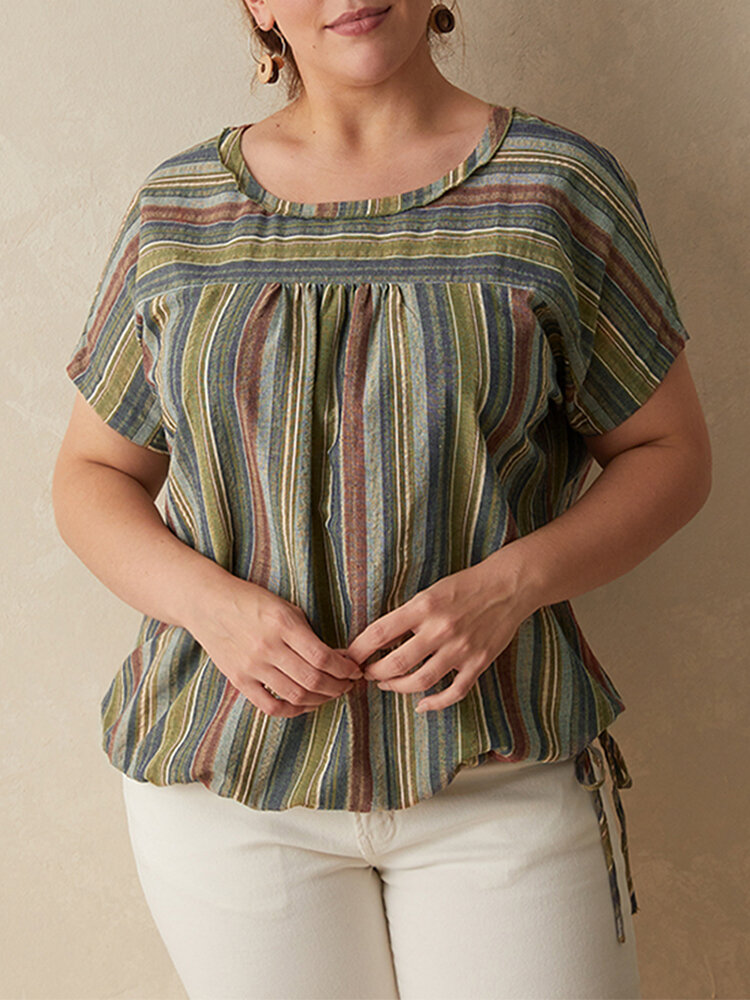 Striped O-neck Short Sleeve Plus Size T-shirt