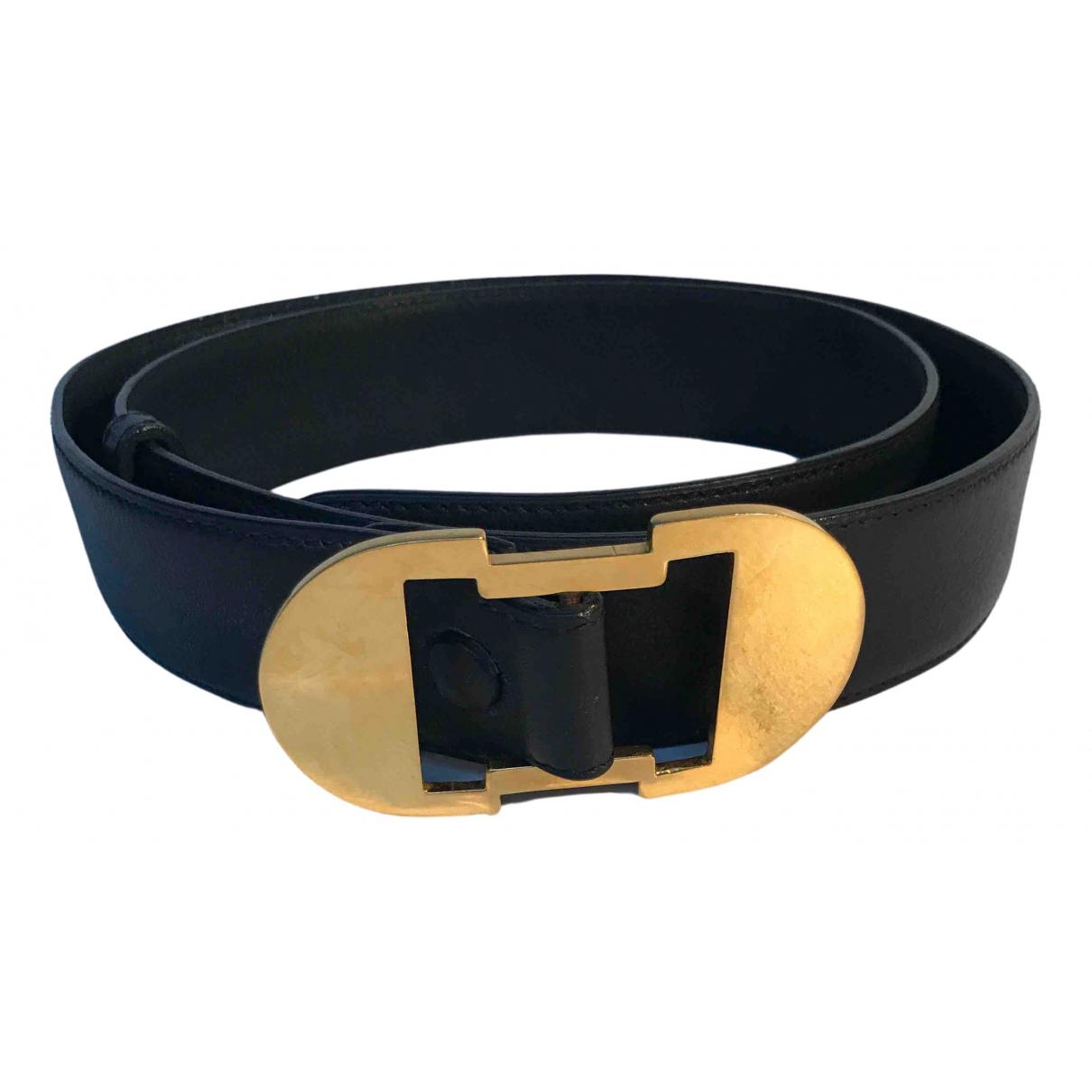 Delvaux N Black Leather belt for Women 90 cm