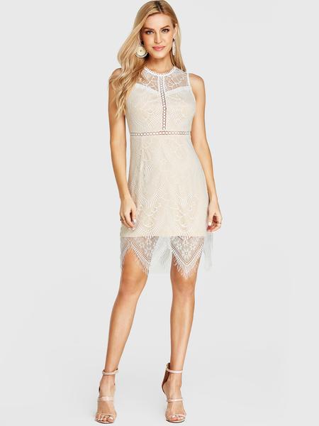 YOINS White Eyelash Lace Backless Design Round Neck Dress