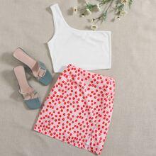 One Shoulder Top & Ditsy Floral Print Skirt Set