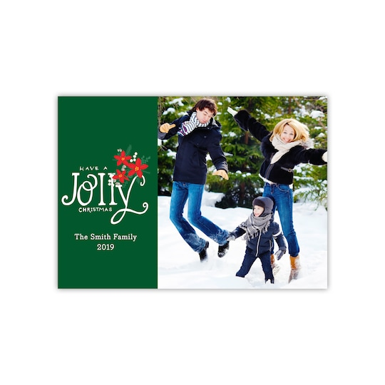 Gartner Studios® Personalized Poinsettia Pattern Holiday Flat Photo Card | Michaels®