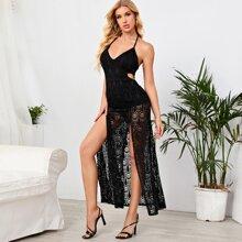 Cutout Detail M-slit Thigh Guipure Lace Overlay Halter Dress