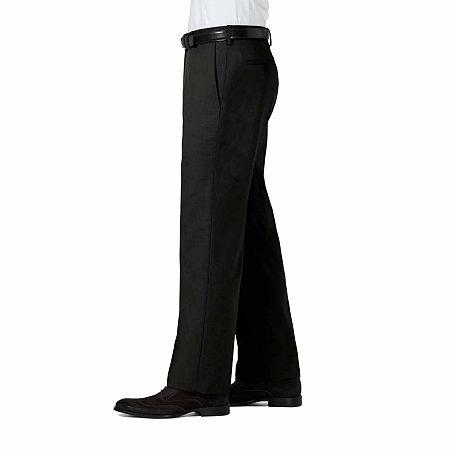 J.M Haggar Sharkskin Classic Fit Flat Front Dress Pant, 42 30, Black