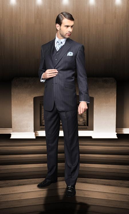 Pick Stitch Collar Slanted Pocket Navy Pinstripe 2 Button Vested Suit