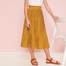 Girls Ruffle Trim Polka Dot Pleated Skirt