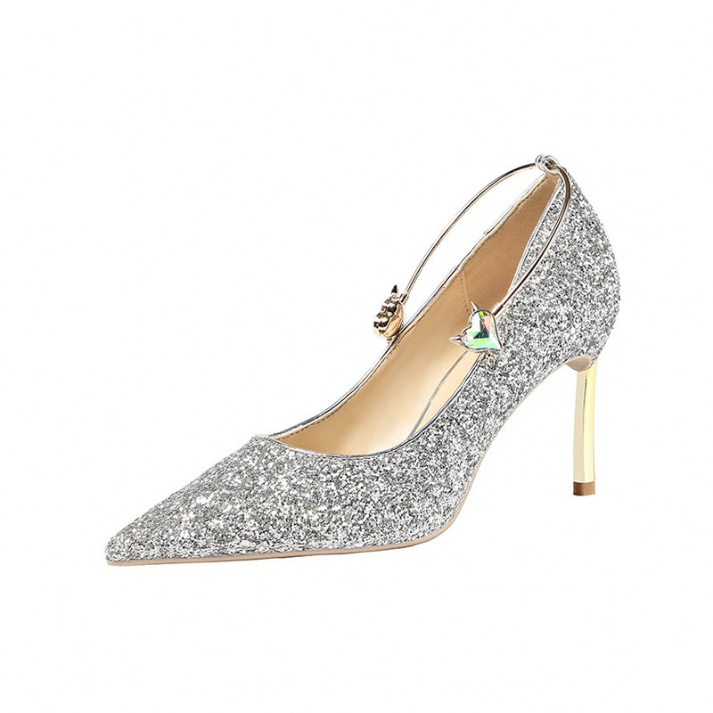 Ericdress Sequin Stiletto Heel Slip-On Low-Cut Upper Women's Pumps