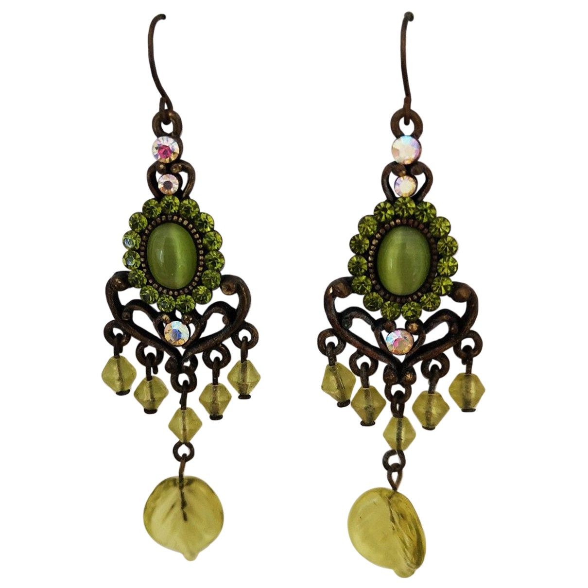 Non Signé / Unsigned N Green Metal Earrings for Women N