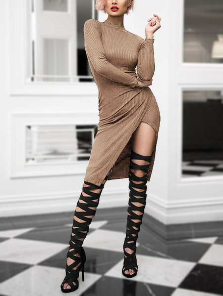 Yoins Khaki Crew Neck Knit Asymmetrical Midi Dress