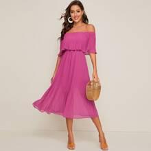 Pleated Foldover Flare Hem Chiffon Bardot Dress