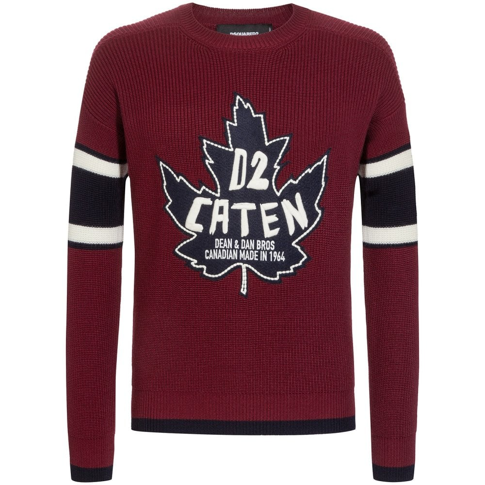 Dsquared2 D2 Caten Logo Knitted Jumper Colour: BURGUNDY, Size: LARGE