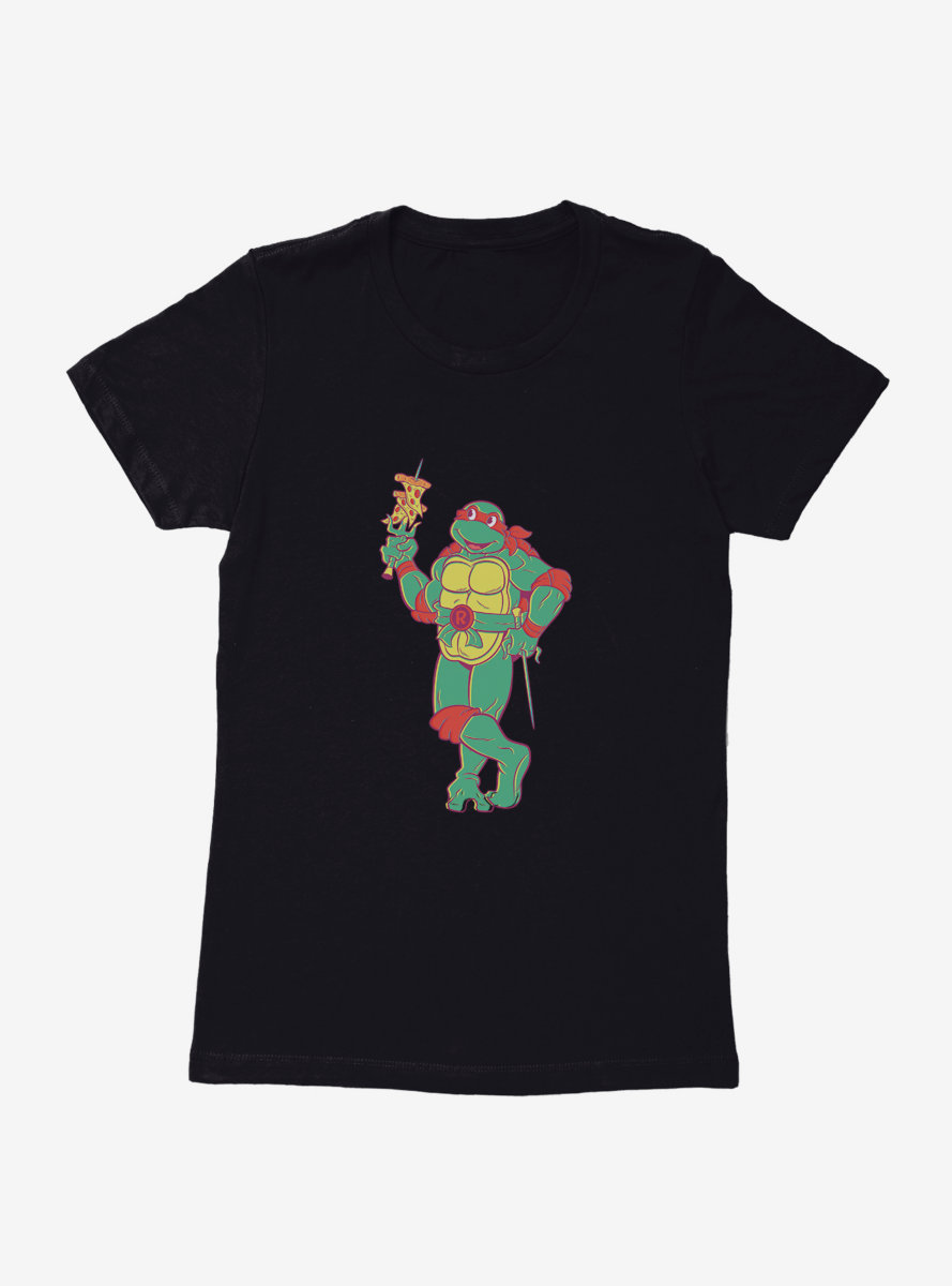 Teenage Mutant Ninja Turtles Raphael Eating Pizza Womens T-Shirt