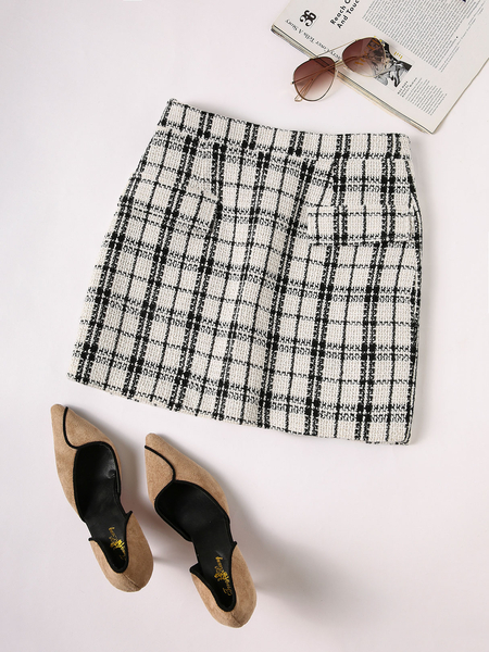YOINS White Plaid High-Waisted Skirt