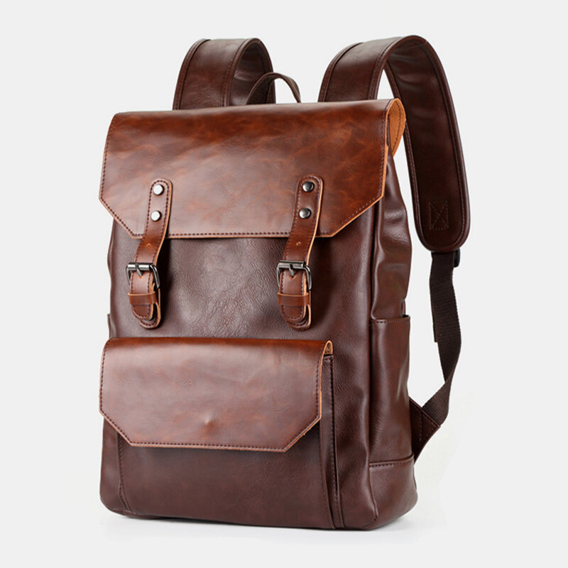 Men 15.6 Inch Large Capacity Leather Laptop Bag Backpack