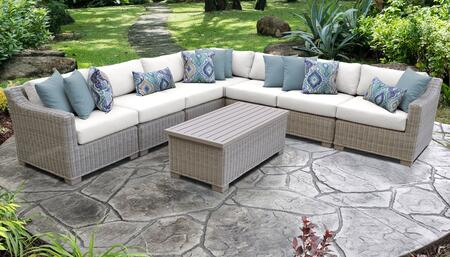 Coast Collection COAST-08a-WHITE 8-Piece Patio Set 08a with 1 Corner Chair   4 Armless Chair   1 Storage Coffee Table   1 Left Arm Chair   1 Right