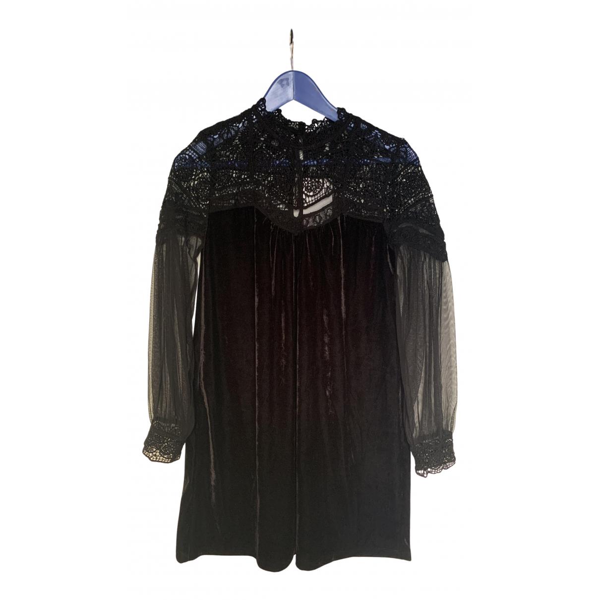 Zara \N Kleid in  Schwarz Samt