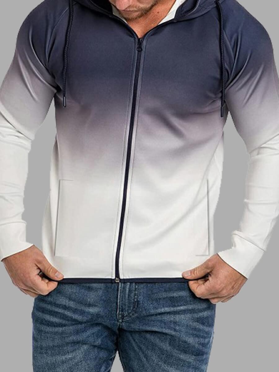 LW Lovely Sportswear Hooded Collar Gradual White Men Jacket