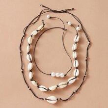 3pcs Shell Decor String Necklace