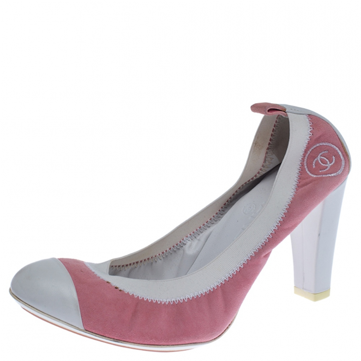 Chanel N Pink Leather Heels for Women 8 US