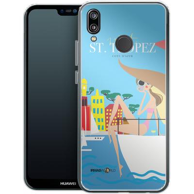 Huawei P20 Lite Silikon Handyhuelle - ST TROPEZ TRAVEL POSTER von IRMA