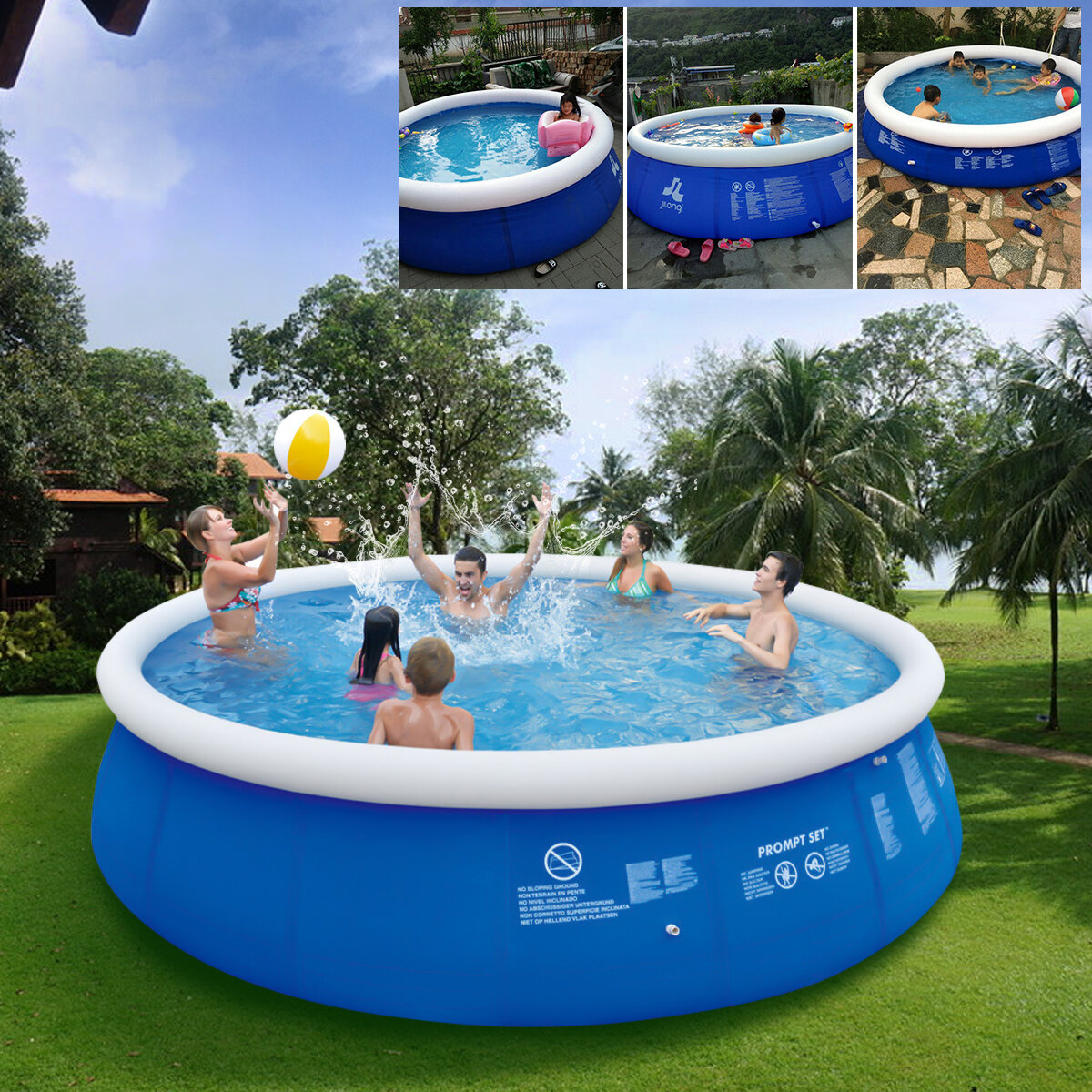 6 Size Blue Above Ground Swimming Pool Family Pool Inflatable Pool For Adults Kids
