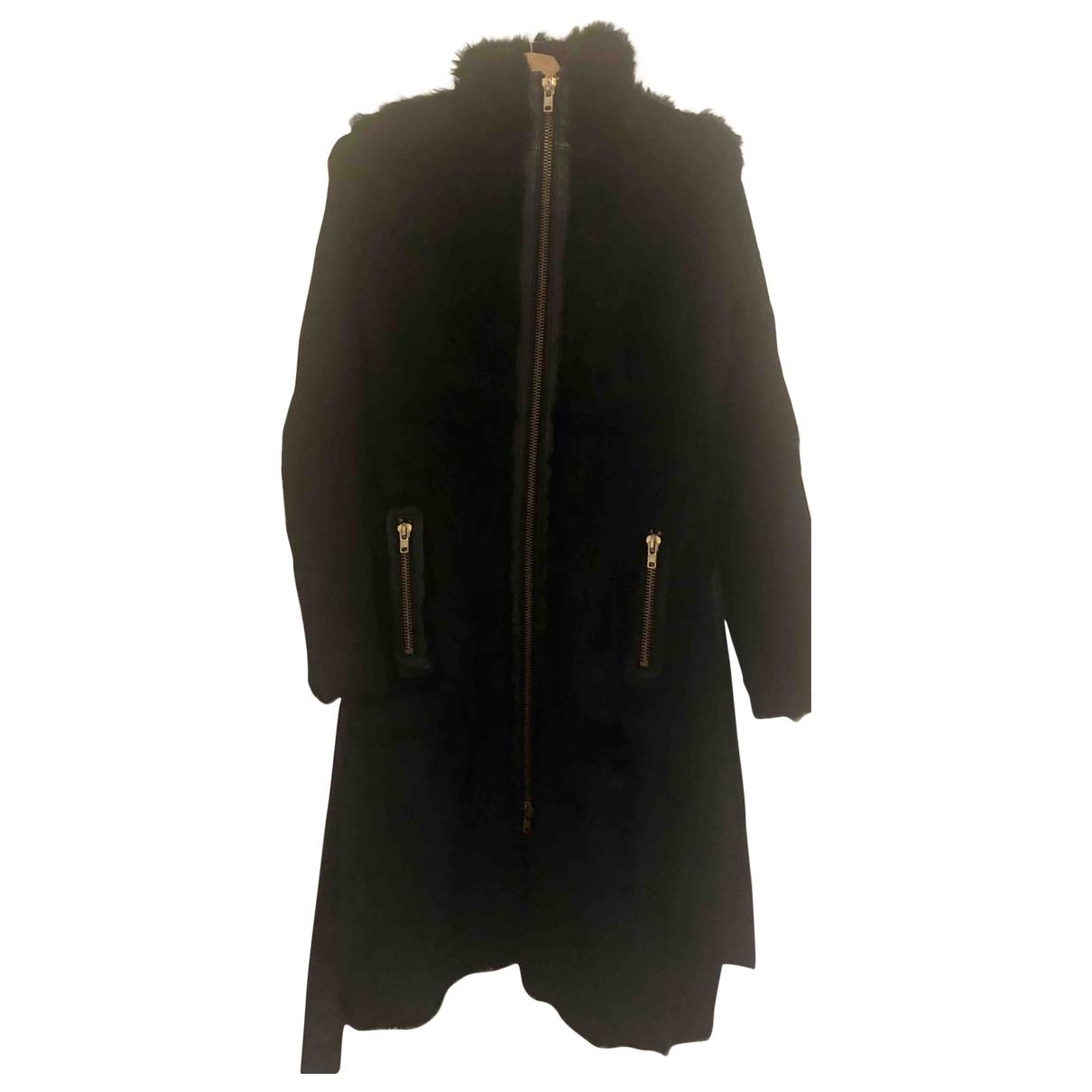 Zara - Manteau   pour femme en lapin - noir