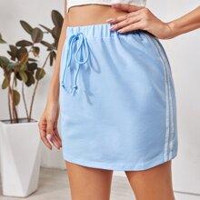 Knot Waist Striped Tape Side Skirt
