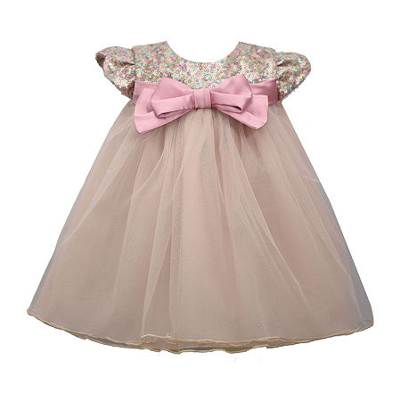 Bonnie Jean Baby Girls Short Sleeve Empire Waist Dress, Newborn-3 Months , Pink