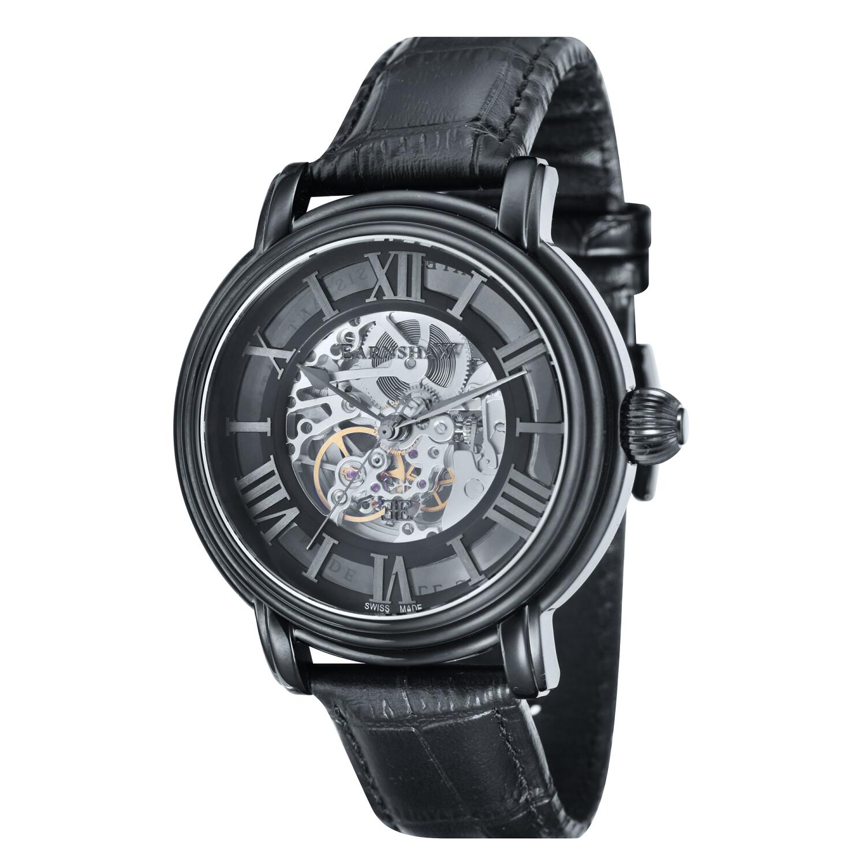 Thomas Earnshaw Men's Longcase ES-0032-02 Black Leather Swiss Automatic Dress Watch
