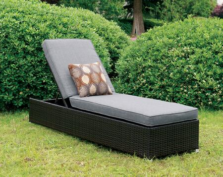Albee II CM-OC1833GY Patio Chaise  with Contemporary Style  UV and Water Resistant  Adjustable Back  Espresso Wicker Frame in