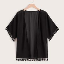 Plus Tassel Trim Solid Kimono