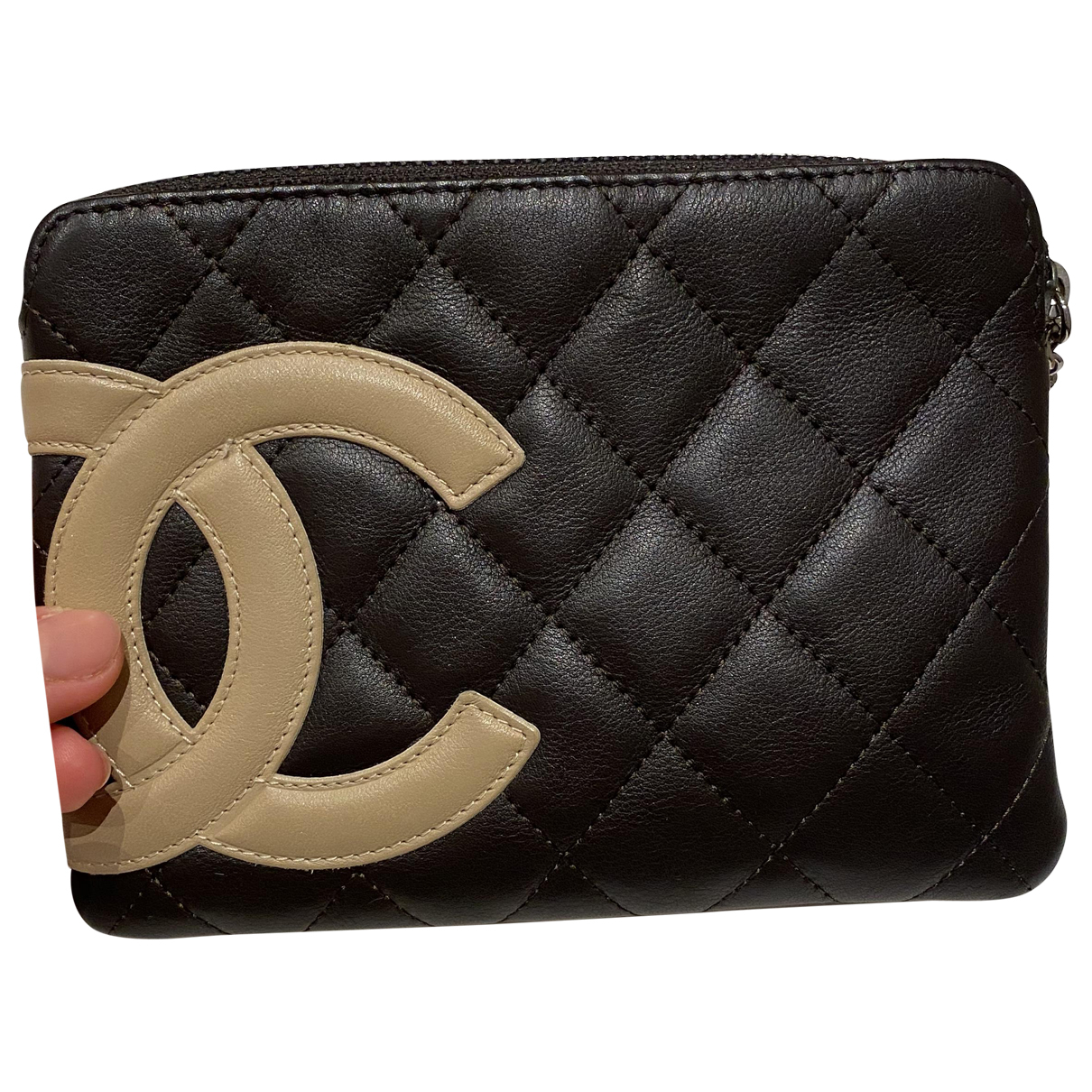 Chanel - Portefeuille   pour femme en cuir - marron