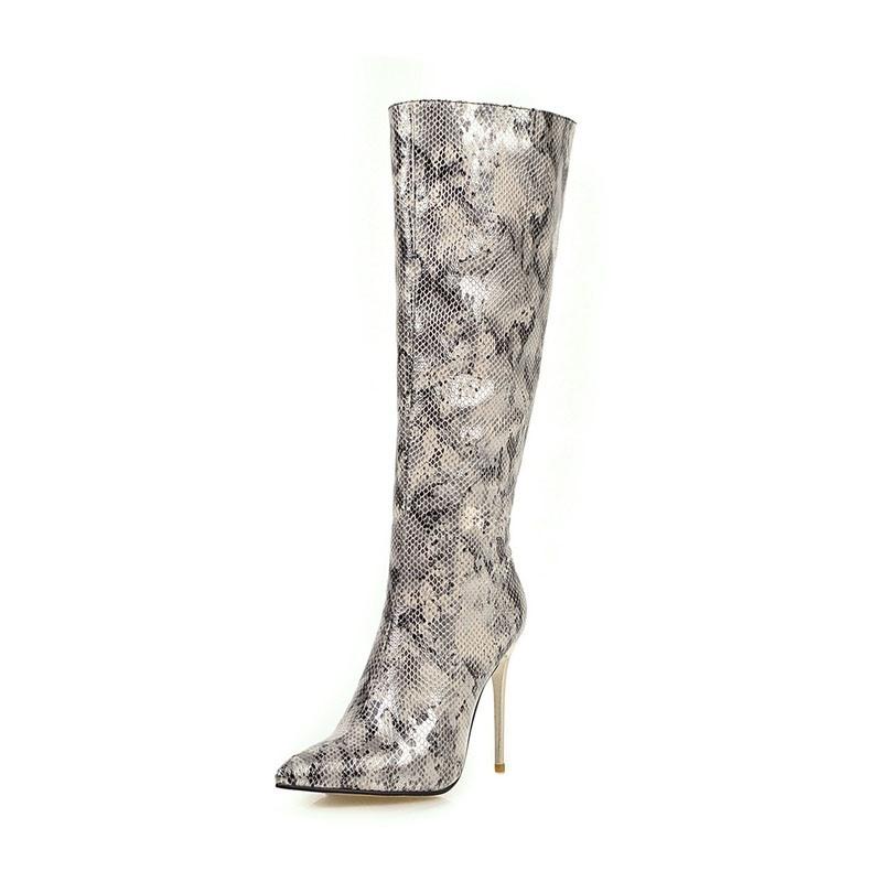 Ericdress Serpentine Stiletto Heel Side Zipper Pointed Toe Womens Knee High Boots