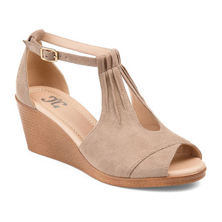 Journee Collection Womens Kedzie Wedge Sandals, 8 1/2 Medium, Beige