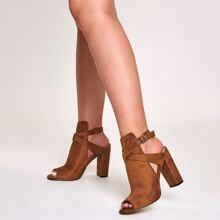 Peep Toe Cross Strap Chunky Heels