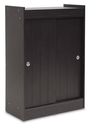 Baxton Studio WI5377 Shoe-Rack Cabinet with 2 Doors  4 Shelves  Flat Top  Engineered Wood and Wood Grain-Effect Paper Veneer in