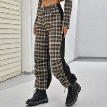 Hose mit Karo Muster, Farbblock und schraegen Taschen