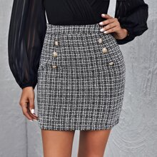 Double Button Plaid Tweed Skirt