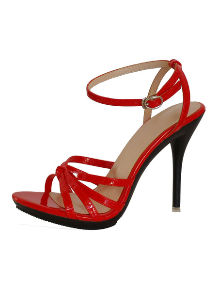 Milanoo Women\'s Heel Sandals Red Stiletto Heel Open Toe PU Leather