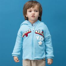 Toddler Boys Teddy Lined Letter Graphic Zip Up Hooded Coat