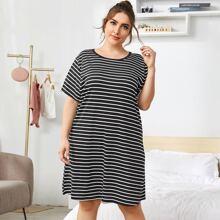 Plus Striped Night Dress