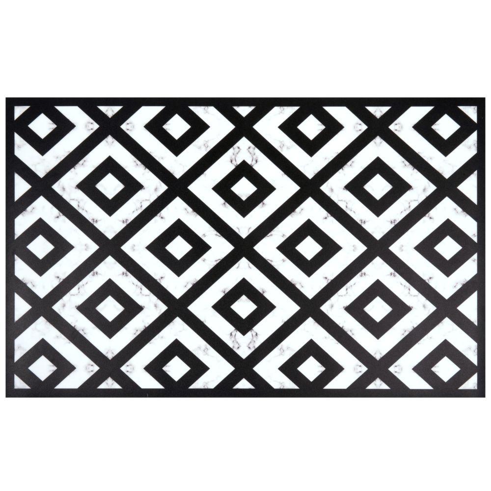 Vinyl-Teppich, schwarz und weiss, gemustert 50x80